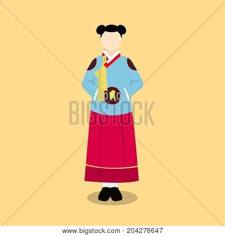 hanbok korea traditional clothes flat style dress vector