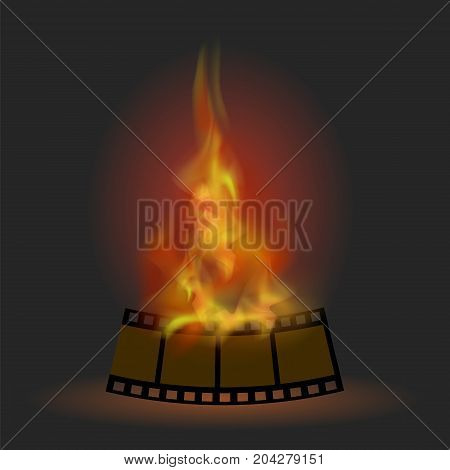 Burning Stripe with Fire Flame Isolated on Dark Background