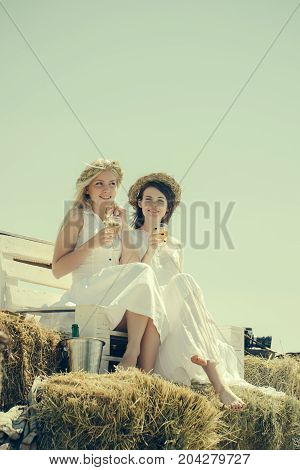 Wine tasting concept. Girls smiling with champagne glasses outdoors. Happy girlfriends on bench on blue sky. Women drinking alcohol on sunny day. Summer vacation holidays and celebration.