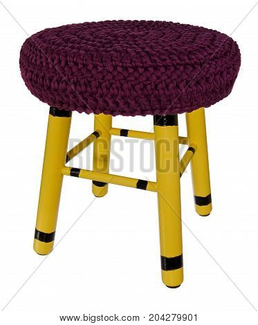 Handmade Stool Wooden Yellow In Black Stripes. Round Seat With Cherry, Dark Red Woolen Material.