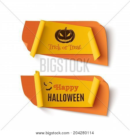 Two orange and yellow, Halloween, treat or trick abstract banners isolated on white background.  Template for greeting card, brochure or poster. Vector illustration.