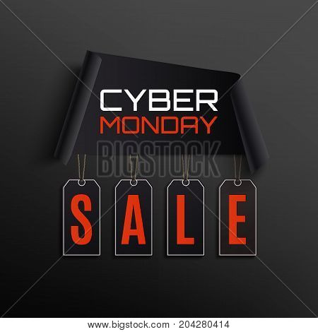 Cyber monday sale abstract design. Curved paper banner with price tags isolated on black background. Vector illustration.
