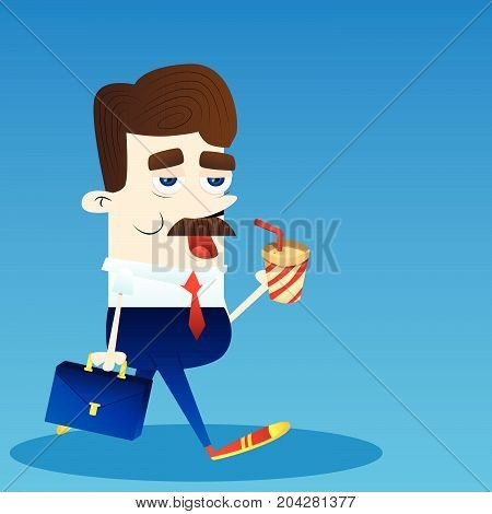 Business Office Employee Busy At Work. Cartoon Character Businessman With Coffee And Briefcase.