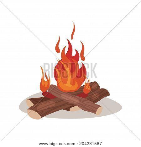 Burning bonifire colorful vector illustration on a white background