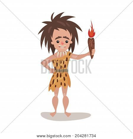 Prehistoric woman wearing in an animal skin holding fire rorch, stone age character colorful vector Illustration on a white background