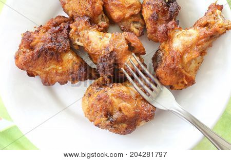 Dish With Fried Chicken Wings For A Lunch
