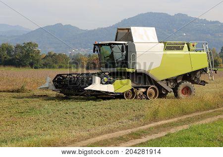 Huge Combine Harvesting During Cereal Harvesting