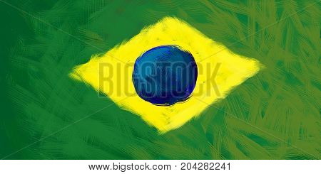 Flag of Brazil by watercolor paint brush, grunge style