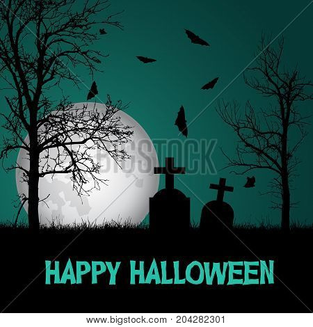 Vector illustration of a graveyard with tombstones and trees under a haunted green sky with a big moon and flying bats and with the text Happy Halloween