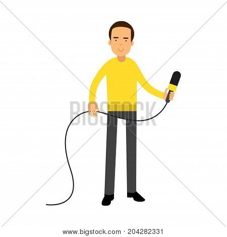 Male reporter character standing with a microphone, journalist doing report vector Illustration on a white background