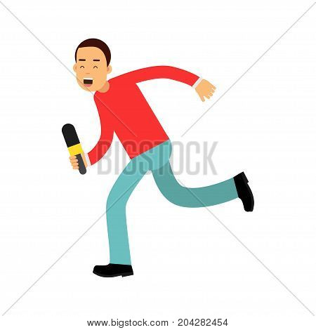 Male reporter character runnung with a microphone, journalist doing report vector Illustration on a white background