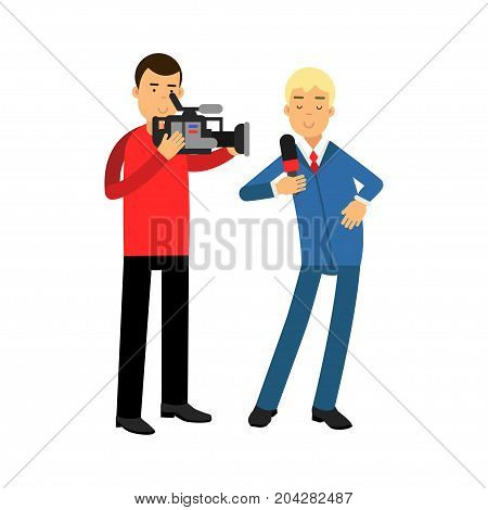 Male reporter and cameraman operator characters filming news while reporter speaking with microphone, journalist doing report vector Illustration on a white background