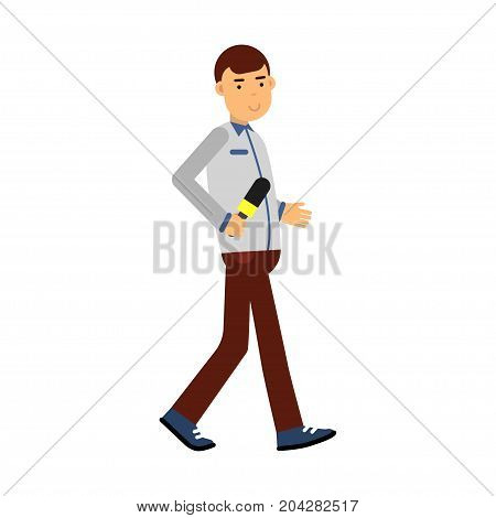 Male reporter character walking with a microphone, journalist doing report vector Illustration on a white background