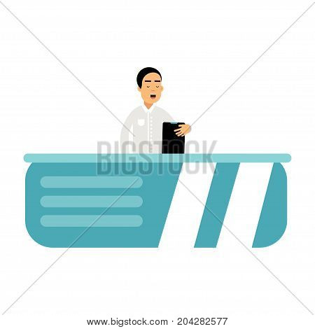 Anchor man character telling daily news In the television studio vector Illustration on a white background