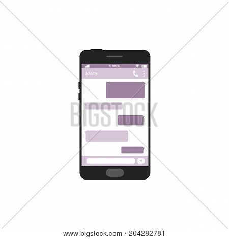 Smartphone with chat bonnles isolated on white background