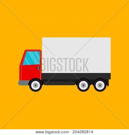 Delivery truck isolated on orange background. vector