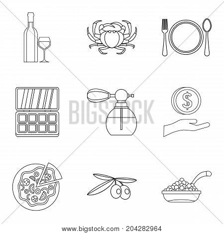 Elite place icons set. Outline set of 9 elite place vector icons for web isolated on white background