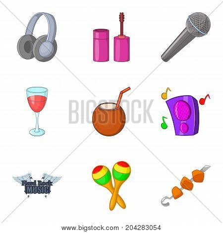 Hard rock festival icon set. Cartoon set of 9 hard rock festival vector icons for web design isolated on white background