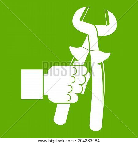 Hand holdimg calipers icon white isolated on green background. Vector illustration