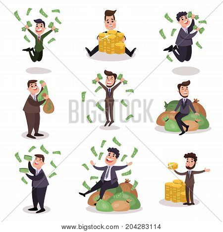 Rich wealthy happy millionaire characters set of colorful vector Illustrations on a white background