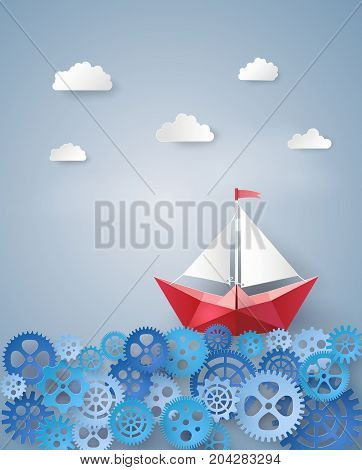 leadership concept with paper sailing boat float on the gears .paper art and craft style.