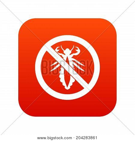 No louse sign icon digital red for any design isolated on white vector illustration