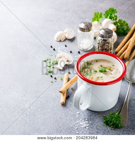 Delicious homemade mushrooms champignons soup with parsley in enamel mug. Healthy food concept with copy space.
