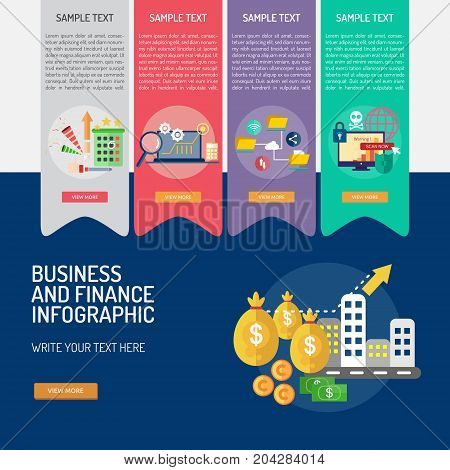Infographic Business and Finance | Set of great infographic flat design illustration concepts for business, finance, marketing and much more.