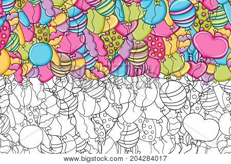 Balloons birthday and celebration concept cartoon doodles background design. Hand drawn black and white outline coloring page vector illustration.