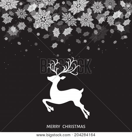 Xmas Reindeer And White  Snowflakes On  Black  Background.