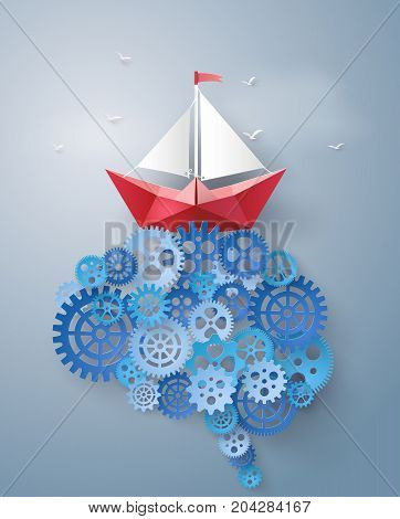 Concept of leader vision and thinking paper boat sailing float on the brain gearpaper art and craft style