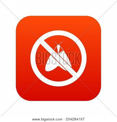 No moth sign icon digital red for any design isolated on white vector illustration