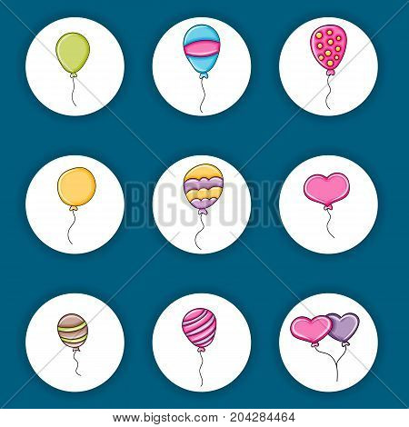 Balloons birthday and celebration icons concept  cartoon doodles sticker design. Hand drawn colorful vector illustration collection.