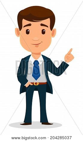 Business man cartoon character in smart clothes office style. Young handsome businessman in suit showing something. Vector illustration.
