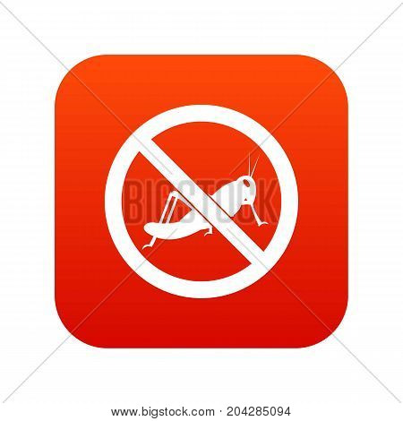 No locust sign icon digital red for any design isolated on white vector illustration