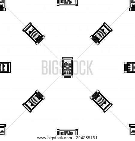 Products in the supermarket refrigerator pattern repeat seamless in black color for any design. Vector geometric illustration