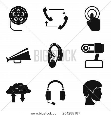 Loud sound icons set. Simple set of 9 loud sound vector icons for web isolated on white background
