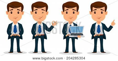 Set of business man cartoon character in smart clothes office style. Young handsome businessman in suit. Vector illustration.