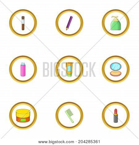 Body care icons set. cartoon style set of 9 body care vector icons for web design