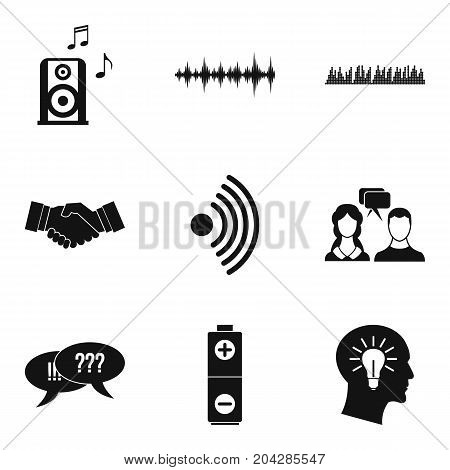 Communication of people icons set. Simple set of 9 communication of people vector icons for web isolated on white background