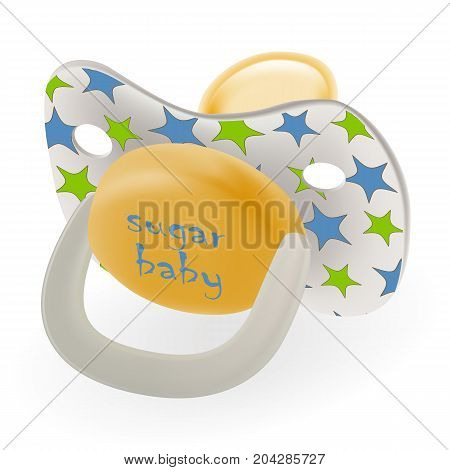 Orthodontic Baby s Dummy. Child Pacifier Or Nipple Stars Isolated On A White Background. Vector Illustration. Products For Children