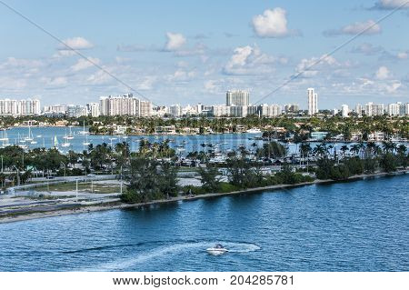 Road Through Many Boats in Biscayne Bay
