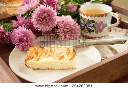 Cottage Cheese Casserole With Apples. Rustic Style, Selective Focus.