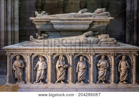 Saint-Denis France - July 02 2017: Interior and details of the Basilica of Saint Denis (Basilique Saint-Denis). Medieval abbey where the kings of France and their families were buried is royal necropolis of France.