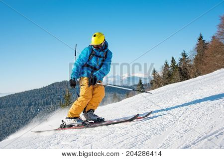 Shot Of A Professional Skier Riding The Slope On A Beautiful Winter Day Copyspace Ski Resort Recreat