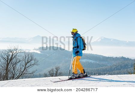 Male Skier In The Mountains Copyspace Nature Outdoors Recreational Sports Enjoyment Sportswear Snow