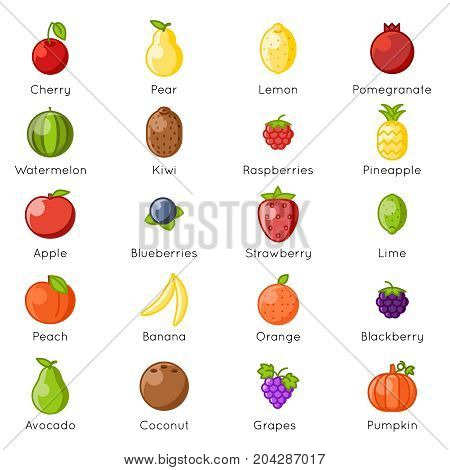 Fresh fruit healthy food natural vitamins cartoon lineart flat isolated design icons set vector illustration