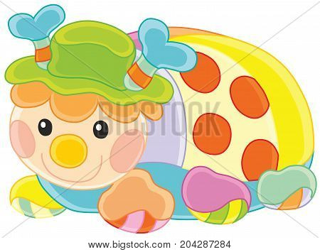 Vector illustration of a small ladybird, soft multicolor pillow for children