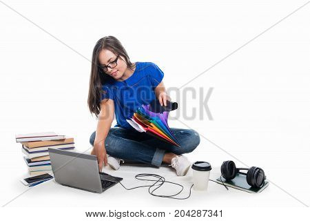 Beautiful Student Girl Sitting Down Searching Throw Files