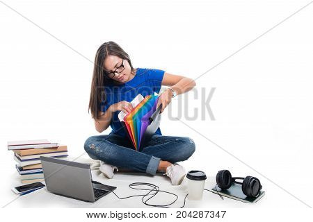 Pretty Student Girl Sitting Down Searching Throw Files